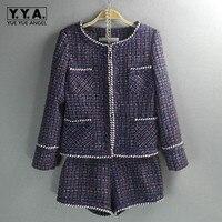 Фиолетовый женский комплект из двух предметов брендовый женский s твидовый жакет шорты Комплект женский o образный вырез пальто маленький а