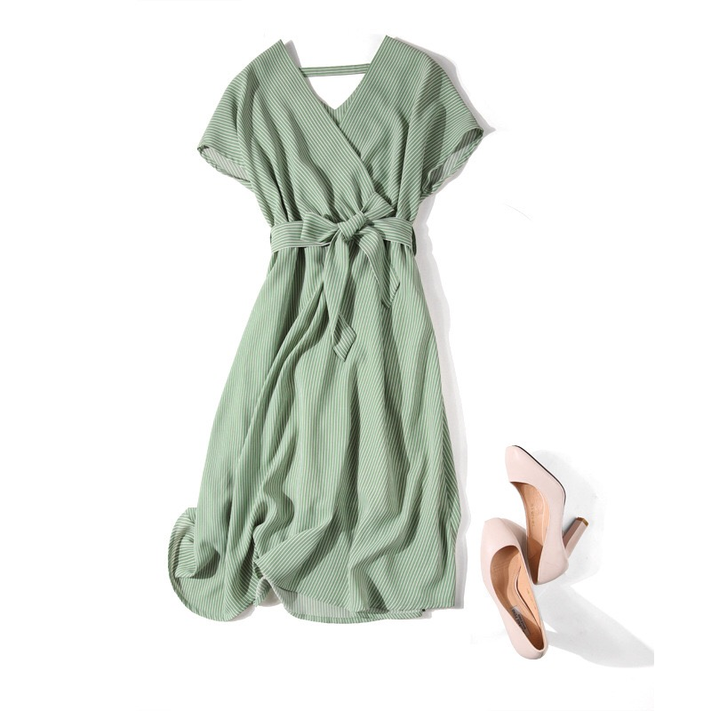Women Summer dress 2019 large size chiffon short sleeved dress V neck Long Party dresses Female