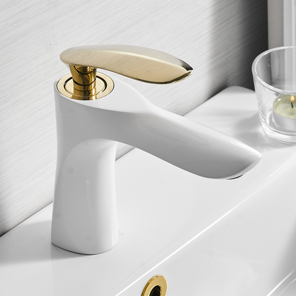 Basin Faucets Elegant Bathroom Faucet Hot and Cold Water Basin Mixer Tap Chrome Finish Brass Toilet Sink Water Crane Gold 220R-in Basin Faucets from Home Improvement    3