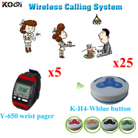 Restaurant Call System Wireless Personal Restaurant Pager Button Call Buzzer (5pcs Watch + 25pcs Call Button)