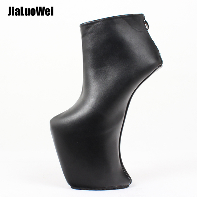 Women Heelless Platform Boots Sexy Round Toe design 2019 Womens Shoes Ankle Boots Fashion High Heels Large Size 36 46