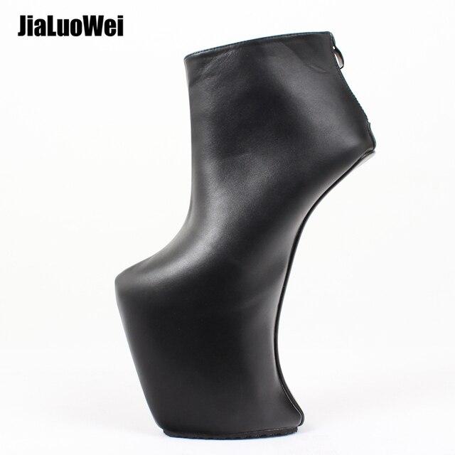 女性 heelless プラットフォームブーツセクシーなラウンドつま先デザイン 2019 女性靴アンクルブーツファッションハイヒール大サイズ 36 46