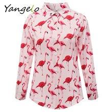 Лето 2017 г. Фламинго печать с длинным рукавом Женские топы рубашка женская blusas feminina женские Блузки для малышек