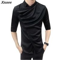 2018 Fashion Casual Shirts Mens Mandarin Collar Mens Shirts Slim Fit White Shirts Night Club Outfits Korean Style Clothing Men
