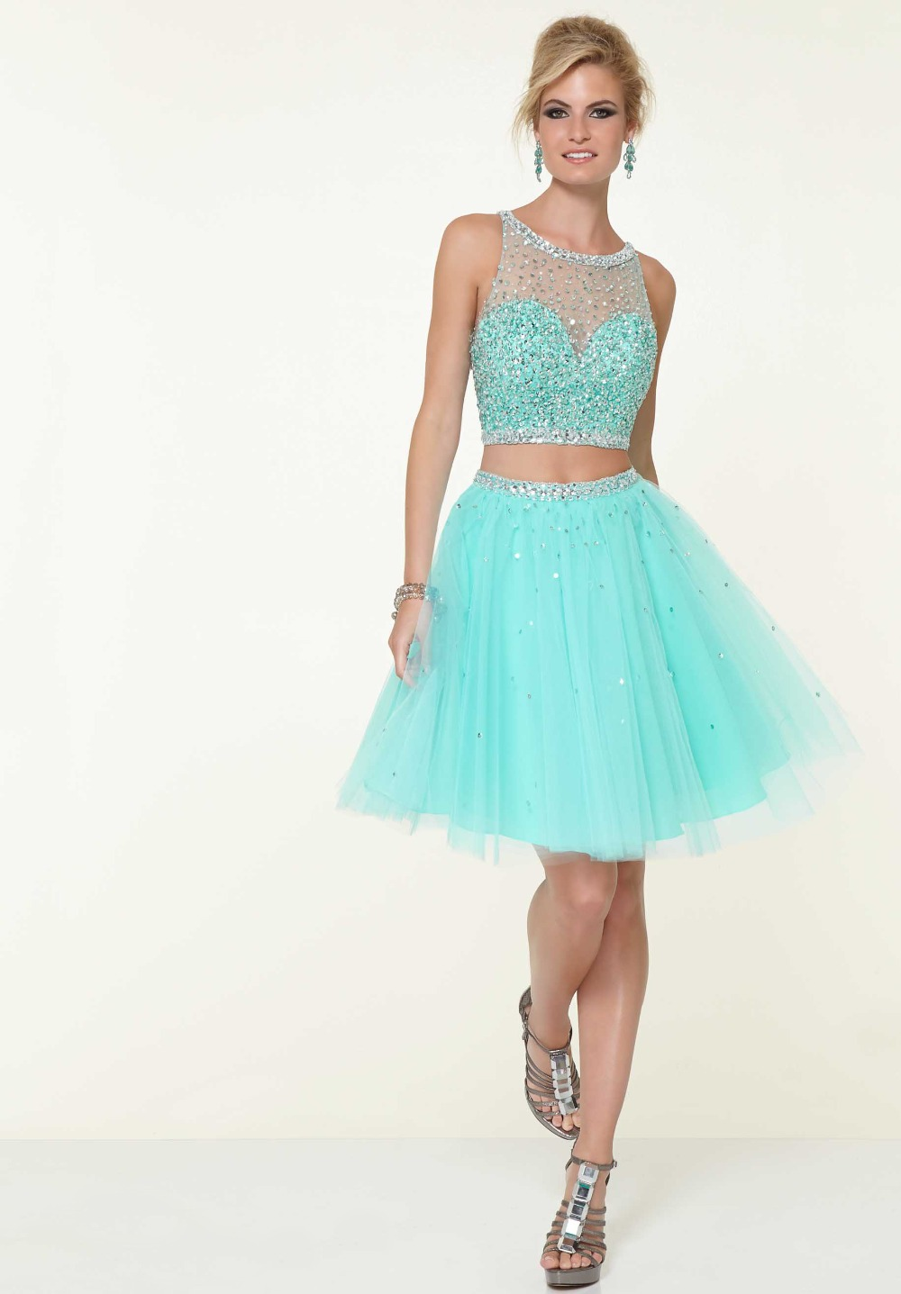 Online Get Cheap 2 Piece Blue Prom Dress with Beaded Top ...