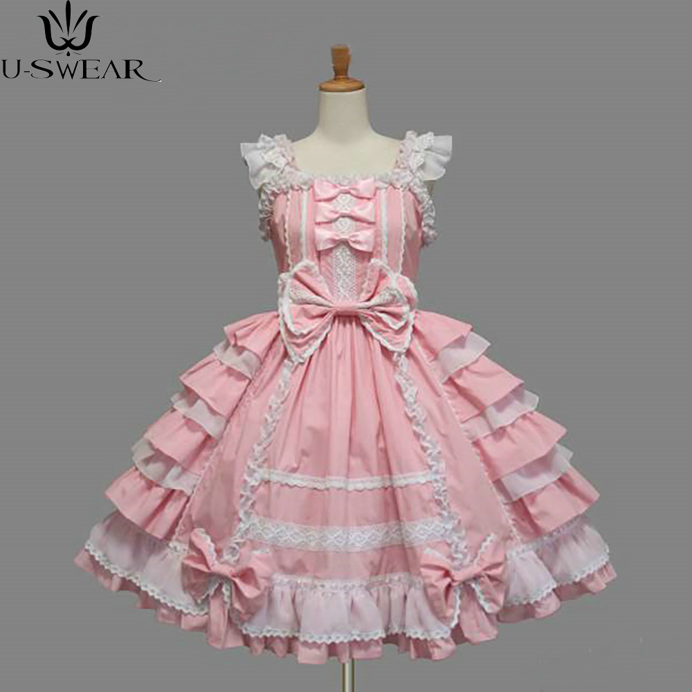 Plus Size XS-XXL Classic Lolita Dress Girl Women's Layered Cosplay Costume Cotton Vintage Dress Rtro Dress for Girl 5 Colors