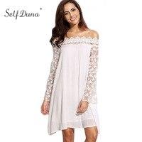 Self Duna 2018 Summer Women White Lace Dress Off Shoulder Long Sleeve Loose Sexy Crochet Chiffon