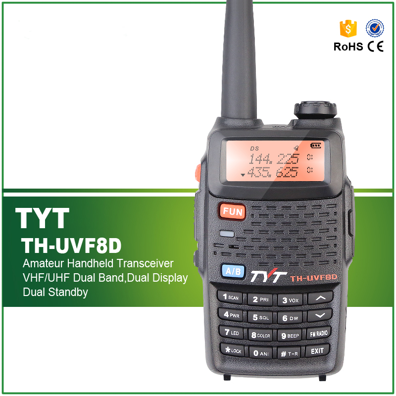 TYT TH-UVF8D Dual Band 136-174MHz & 400-520MHz 128CH Amateur Handheld Transceiver Two Way Radio with Scrambler TYT TH-UVF8D Dual Band 136-174MHz & 400-520MHz 128CH Amateur Handheld Transceiver Two Way Radio with Scrambler