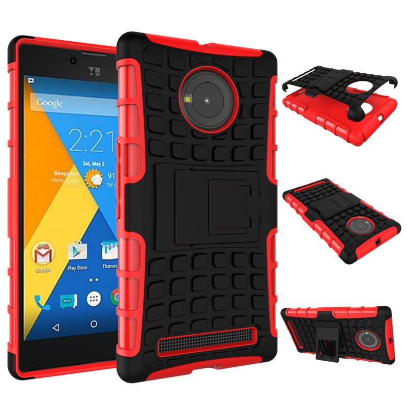 Qiaogle Phone Case - Shock Proof TPU + PC Hybrid Armor Stents Case Cover for Micromax Yu Yuphoria