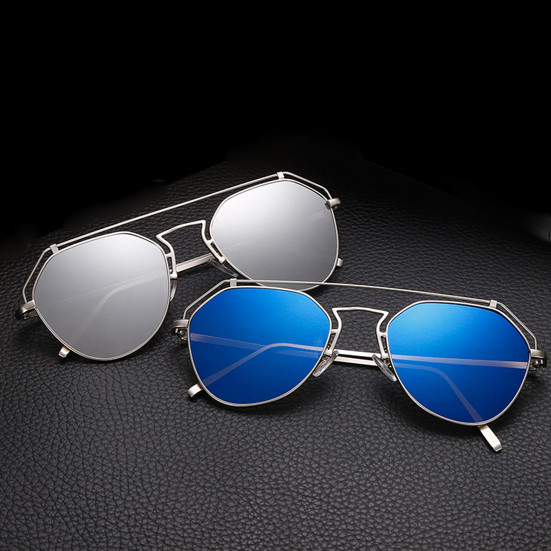 f103e6b04e 2017 New Cat Eye Aviator Sunglasses Women Vintage Fashion Metal Frame  Mirror Sun Glasses Unique Flat Ladies Sunglasses UV400