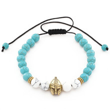 New Fashion Roman Knight Spartan Warrior Gladiator Helmet Charm Bracelet For Women Men Stone Bead Braiding Macrame Bracelet цена в Москве и Питере