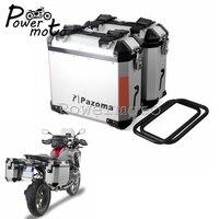 Universal Motorcycle Chrome 36L Side Case Side Box Pannier Storage Cargo Travel Luggage Carrier For BMW R1200 F800 Honda Suzuki