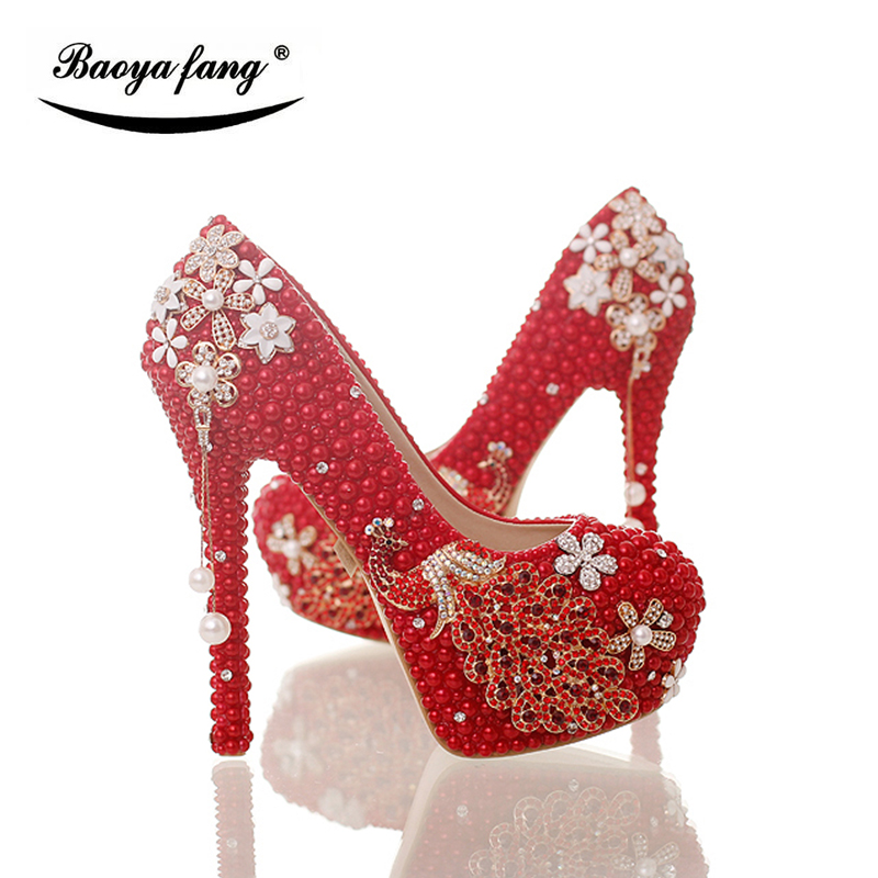 BaoYaFang Red pearl beads Womens wedding shoes High heels fashion woman  party dress shoes Luxury peacock. артикул  32830554735 2b71d2acfa62