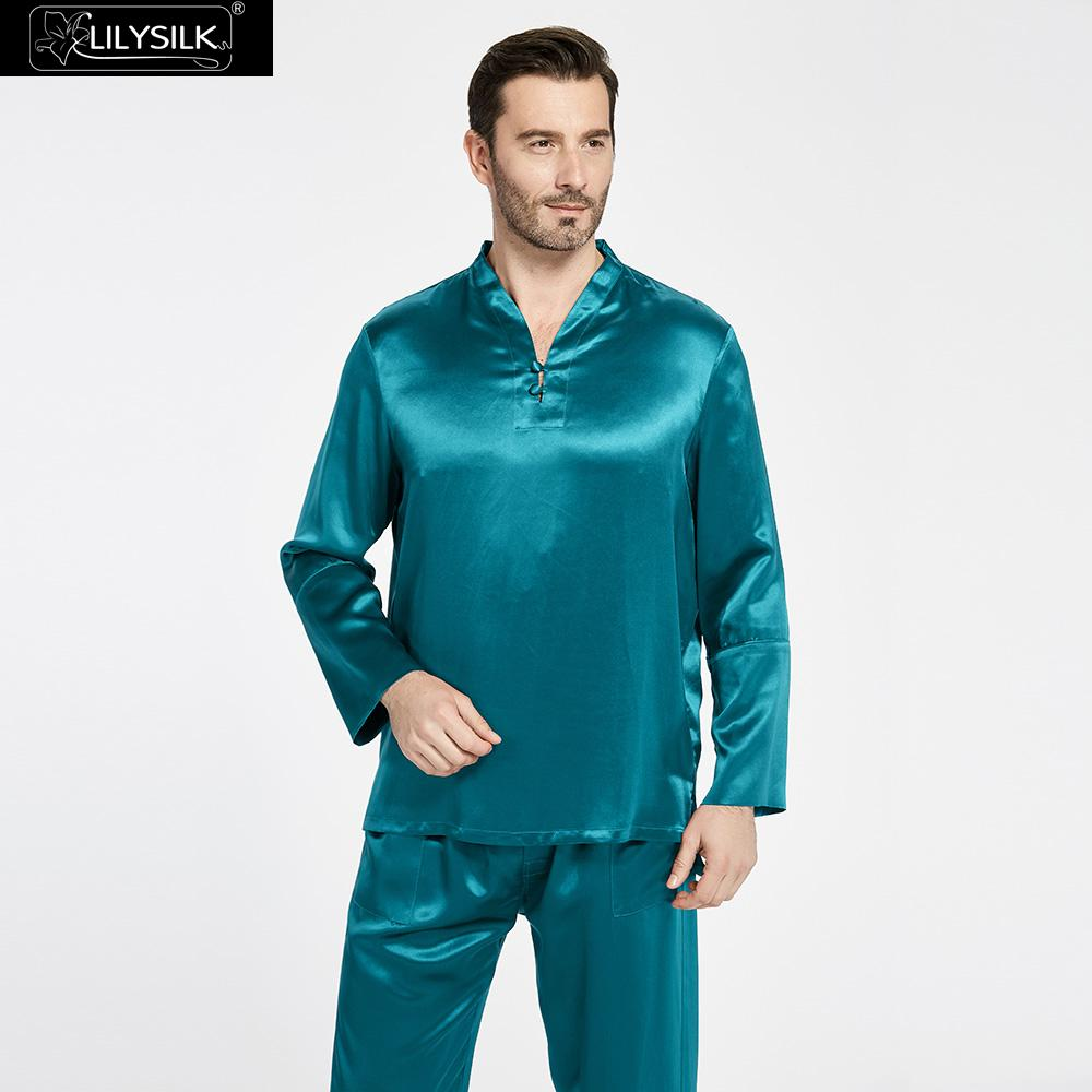 LilySilk Pajamas Set for Men 100 Pure Silk 22 momme Chinese Style Sleepwear Luxury Natural Men