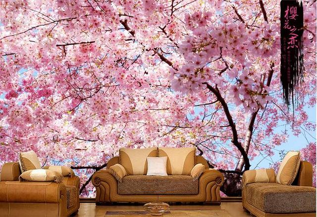 3d wallpaper custom mural non-woven 3d room wall sticker 3d beautiful cherry  blossoms painting