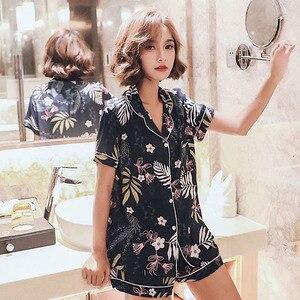 Image 4 - 2019 Summer New Ladies Pajamas Set Comfort Cotton Satin Floral Navy Turn down Collar Cool Sleepwear Female Leisure Wear Homewear
