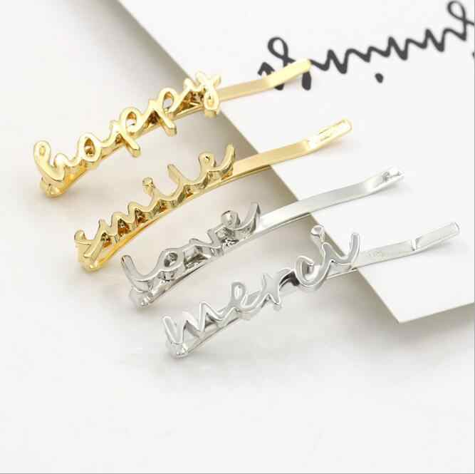 1PC Fashion lovely Women Girls love Shape Gold Color Hair Clip Barrettes Christmas Party Hairpin Hair Accessories 2017 new Hot