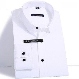 Image 5 - 優れた品質長袖ターンダウン襟竹繊維弾性スリムフィットメンズドレスシャツフロントカバーなしポケット