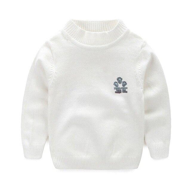 e0bd69d65e219 Manches longues enfants chandails solide tricot pull garçons chandails  coton chaud Crochet filles chandails pied broderie