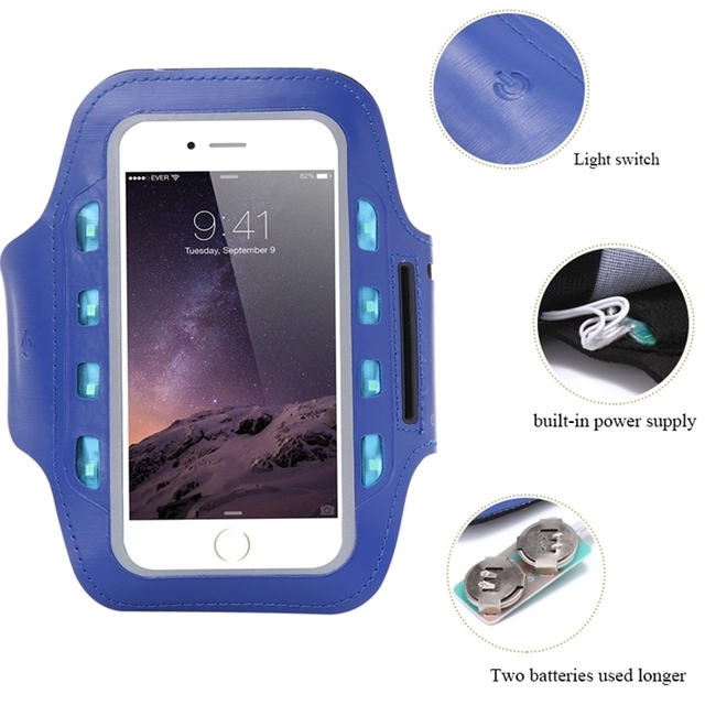US $3 52 30% OFF|General LED Light Flashing Sport Pouch Running Waterproof  Gym Arm Band Case For iPhone 6 6s 7 Plus 5 5inch Phone Cover Shell-in Phone