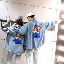 2016 Casual College Denim Jackets New Harajuku BF Style Couples Fashion printing Patched Badges Loose Trend Jeans Jackets Coats