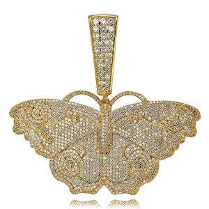 Image 5 - JINAO Hip Hop Gold Schmetterling Anhänger Halskette Mikro Pflastern Zirkon Iced Out Tier Schmuck Mann Frauen Geschenk