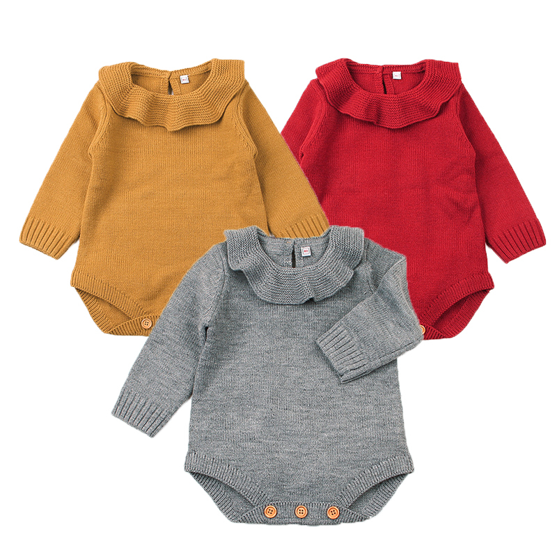 Wool Baby Rompers Autumn Baby Girl Sweater Solid Baby Girl Clothes Roupas Bebe Infant Baby Jumpsuits Newborn Clothes Kid Costume