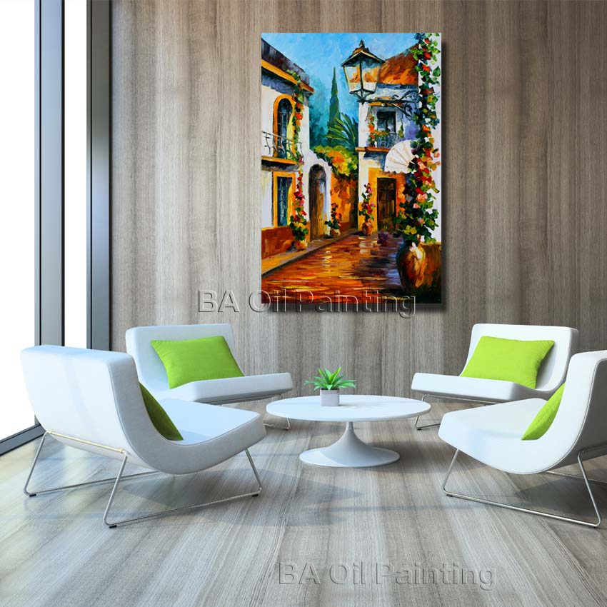 oil canvas painting modern house corner oil paintings home