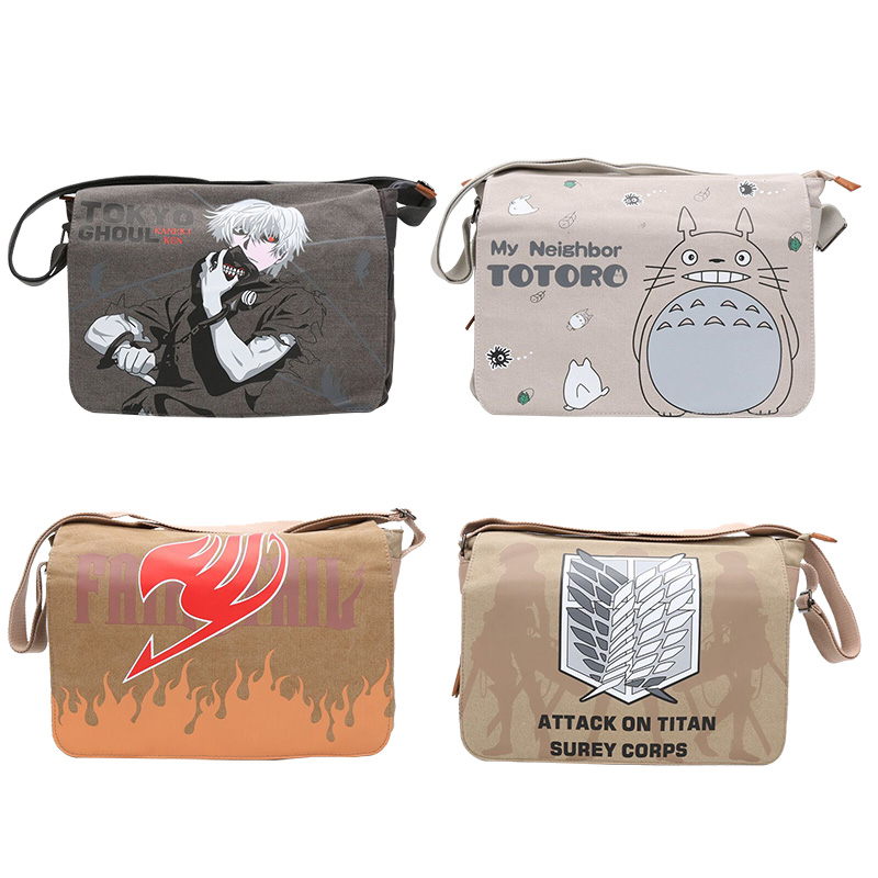 Anime Totoro Attack on Titan Tokyo Ghoul Fairy Tail Cosplay Bag School Shoulder CrossBody Book Bag Rucksack Mochila Daypacks