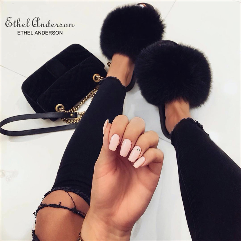 Ethel Anderson Fashion Real Raccoon Fur Slides Slippers Summer Flip Flops Casual Vogue Fox Fur Sandals Vogue Plush Shoes bracelet