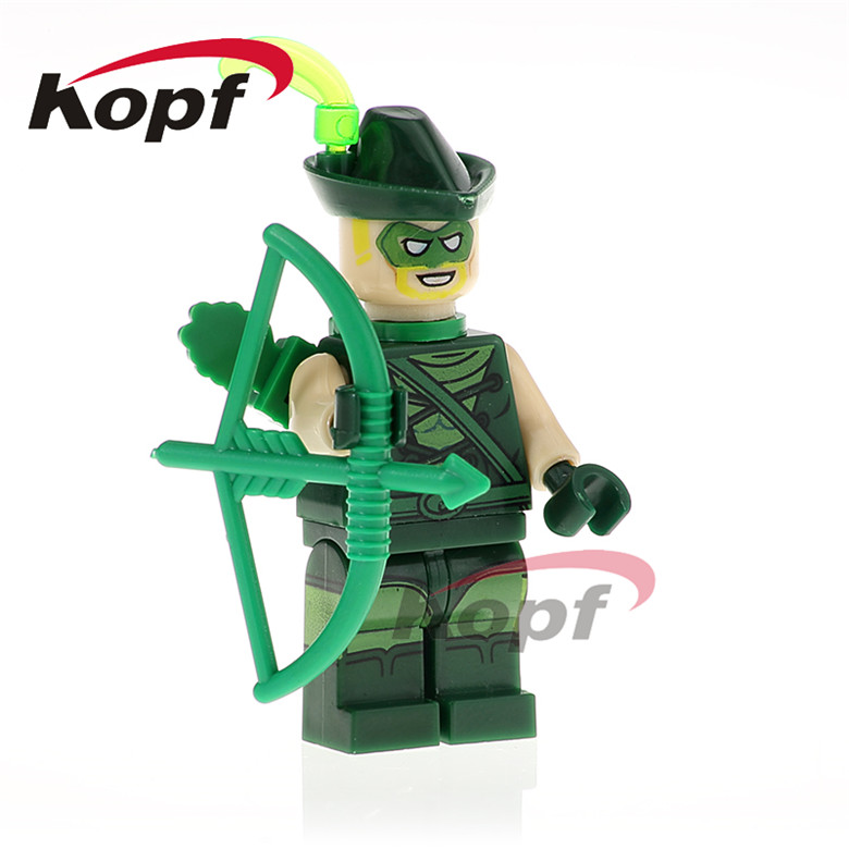 20Pcs PG424 Building Blocks Green Arrow Super Heroes Apache Chief Bat Alfred Disco Clown Bricks Learning For Children Toys Gift