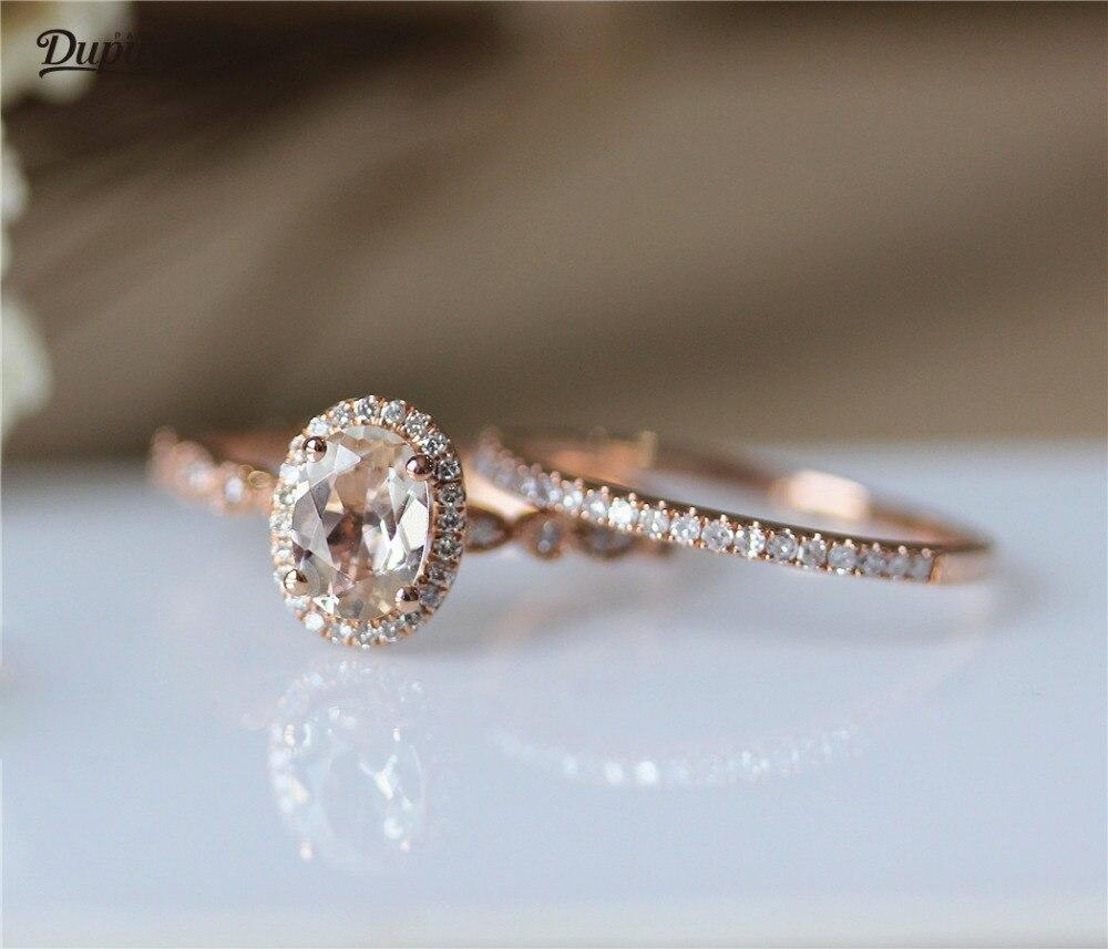DUPUY 6*8 мм овальный вырез морганитное кольцо & Половина Вечности алмазное свадебное кольцо набор 14K розовое золото обручальное кольцо Набор В