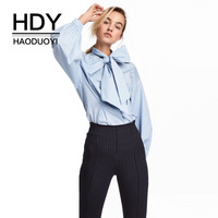 HDY Haoduoyi Brand 2017 Women Blue Sweet Shirts Bowknot Puff Sleeve Female Elegant Blouses Ruffles Lace