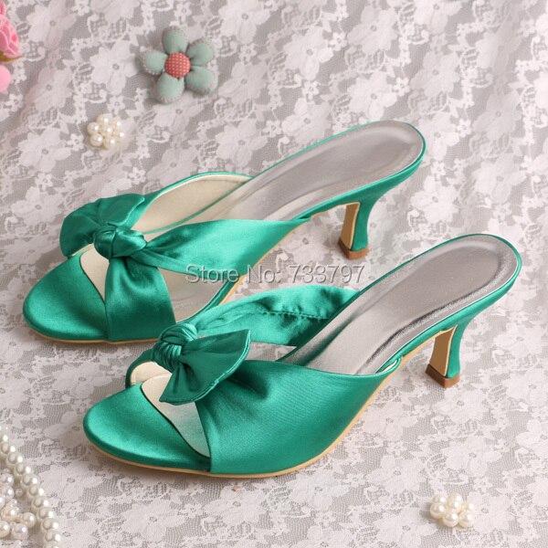 db8c4eb961d0 Wedopus Satin Green Heel Slippers for Women Wedding Medium Heel Free  Shipping
