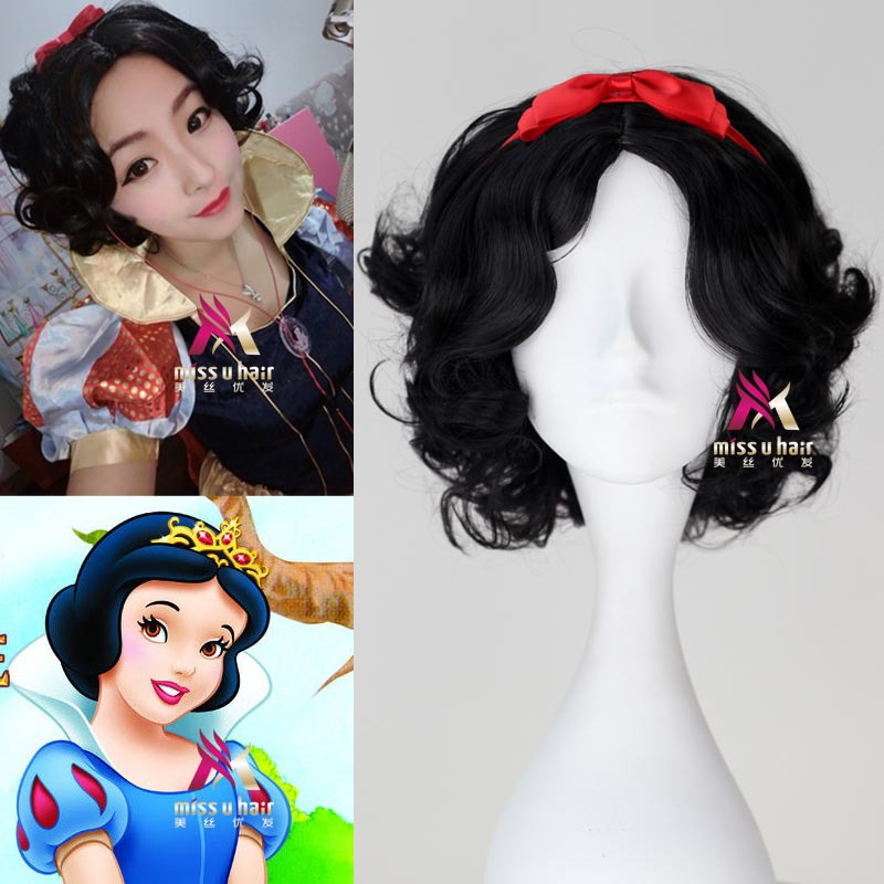 snow white princess wig curly hair heat resistant synthetic wigs for women short black wig costume halloween wigs WoodFestival