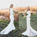 2017 Plus Size Wedding Dress Long Sleeve Vintage Lace Boho Wedding Dresses Elegan Mermaid Bridal Gowns Court Train Cheap