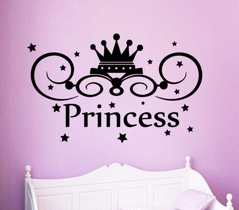 Princess Vinyl Decal Wall Sticker Words Lettering Nursery: Wall Decals Princess Crown Decal Nursery Girl Room Decor