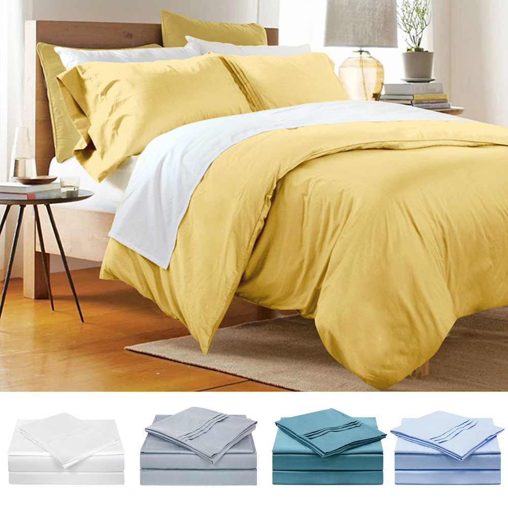 FADFAY Hotel Luxury Soft 100% Cotton 3 Piece Queen Size Light Blue Comfortable Duvet Cover Set Pillowcase Bedding Sets FF5_1002