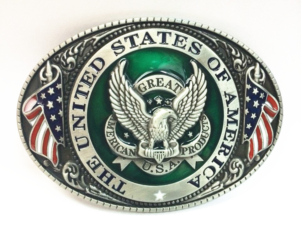 The Cowboys Of The West Belt Buckle Eagle New American Flag Zinc Alloy Wear Men's Clothing Accessories For 4.0 Belt