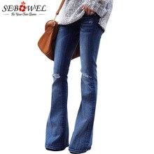SEBOWEL Женские рваные синие рваные джинсы с высокой талией 2019 Женские винтажные джинсовые джинсы
