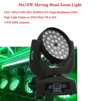 NEW Arrival 36x18W LED Moving Head Zoom Light 6IN1 RGBWA/UV Hight Brightness LEDs DMX512 For DJ Disco Christmas Stage Lighting