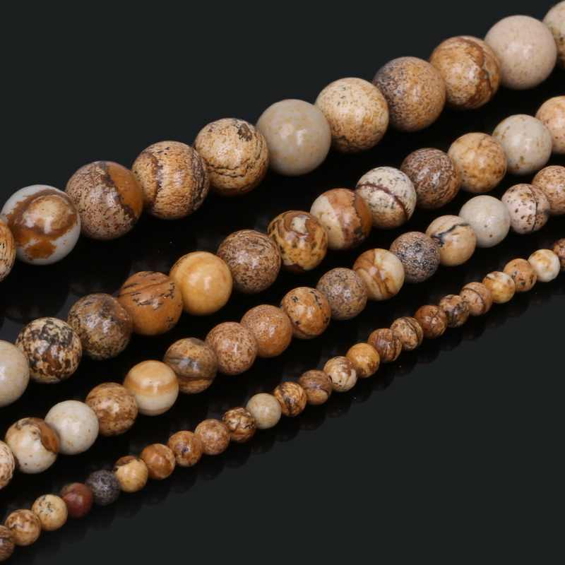 "Christmas Gift 4/6/8/10mm Selectable Round Brown Beads Natural Stone Beads 15""/strand For Bracelet Necklace Jewelry Making"