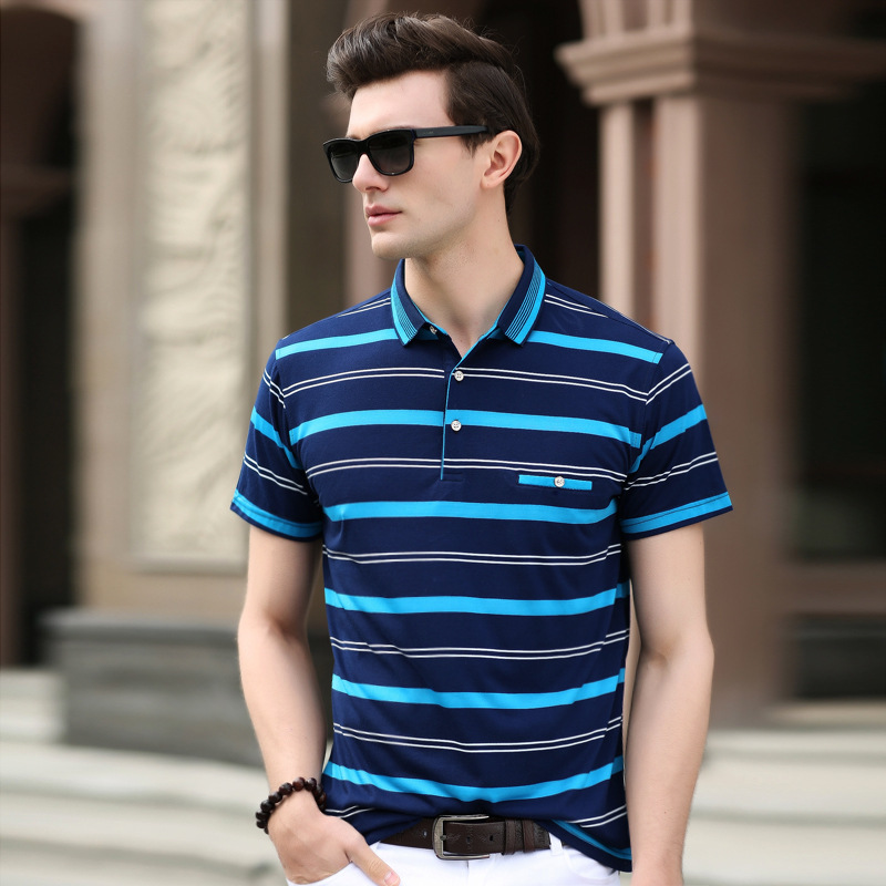Free shipping 2018 summer men's fashion Pure cotton Striped Color   polo   shirt short-sleeve men's casual tops clothings ZZ608