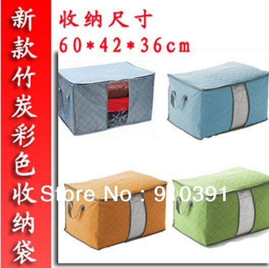 "Free shipping ""L"" With Cover Colorful Bamboo Charcoal folding non-woven storage bag Clothing bins for Quilt Clothes storage box."