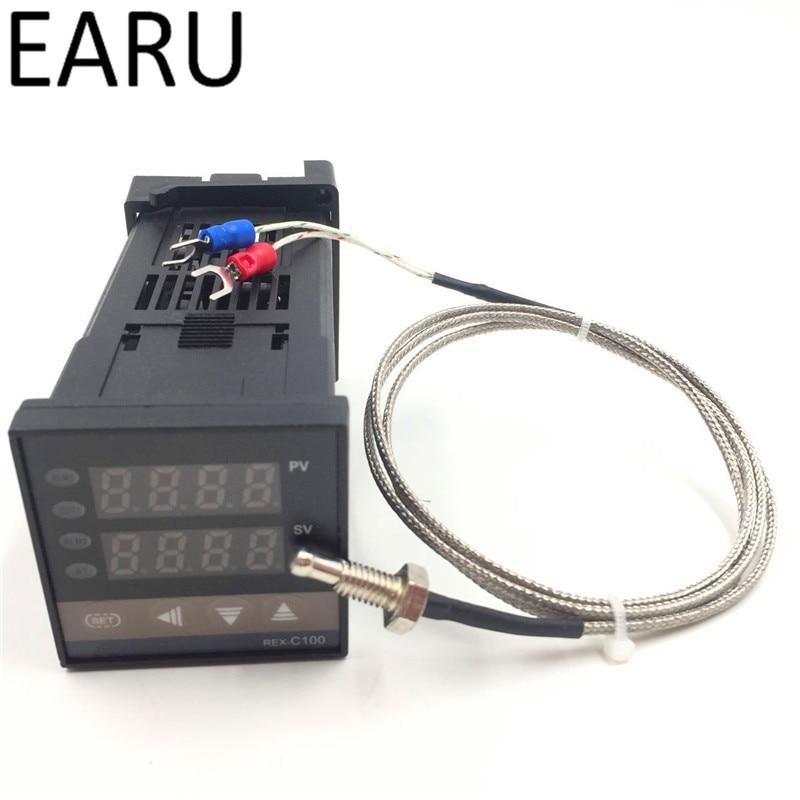 Двойной цифровой PID регулятор температуры REX-C100 Универсальный вход SSR релейный выход + M6 зонд 1 м кабель K Тип термопары Горячий