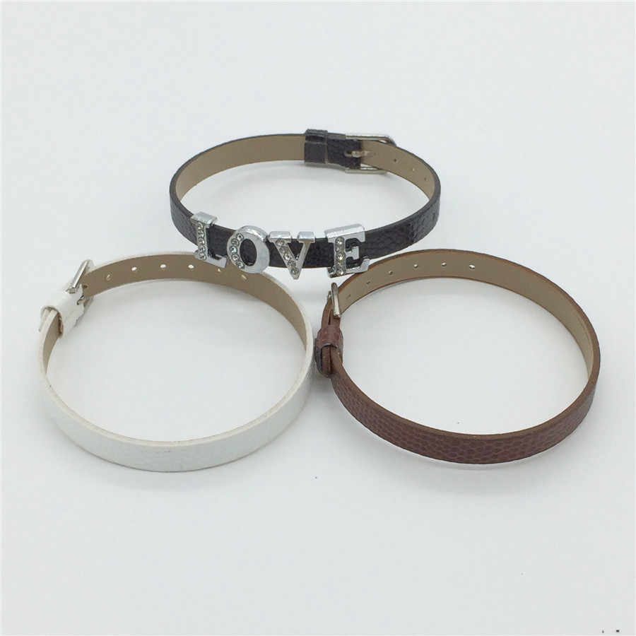 Vendite 8 MILLIMETRI di Cuoio DELL'UNITÀ di elaborazione Del Serpente Braccialetti Del Wristband FAI DA TE di Fascino Wristand Fit 8 mmSlide Pendenti e Ciondoli WB01-1