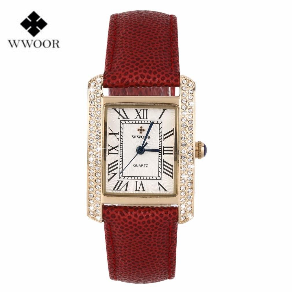 Wwoor waterproof date analog quartz leather wristwatch top brand luxury men women lover stainless steel casual