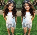 free shipping 2015new arrival girls summer sets Girl sleeveless lace Tassels white t-shirt + jeans short suit princess 2pcs sets