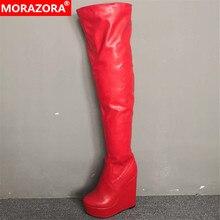MORAZORA/ г., женские сапоги выше колена осенне-зимние сапоги с круглым носком пикантные вечерние туфли на выпускной женские сапоги на платформе
