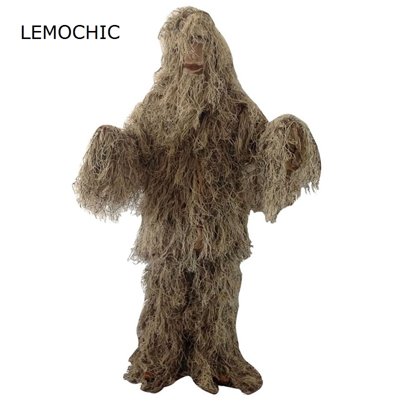 цена на LEMOCHIC desert camouflage ghillie clothes tactical military suit combat hunting uniform CS ghillie suit special forces clothing